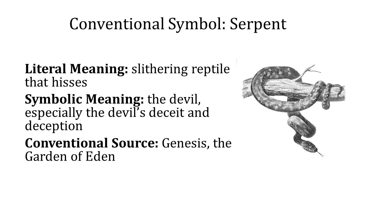Symbolism symbolism in literature literary device applied to 4 conventional symbol serpent literal meaning slithering reptile that hisses symbolic meaning the devil especially the devils deceit and deception buycottarizona Choice Image