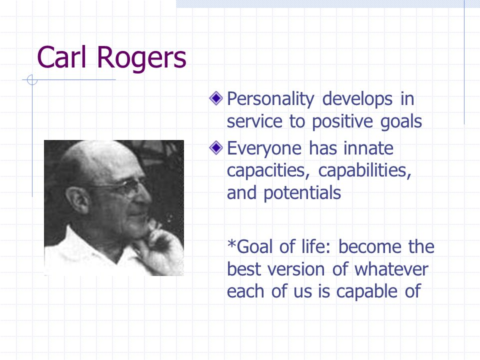 Humanistic personality theory people are a genetic blueprint to 3 carl rogers personality develops in service to positive goals everyone has innate capacities capabilities and potentials goal of life become the best malvernweather Images