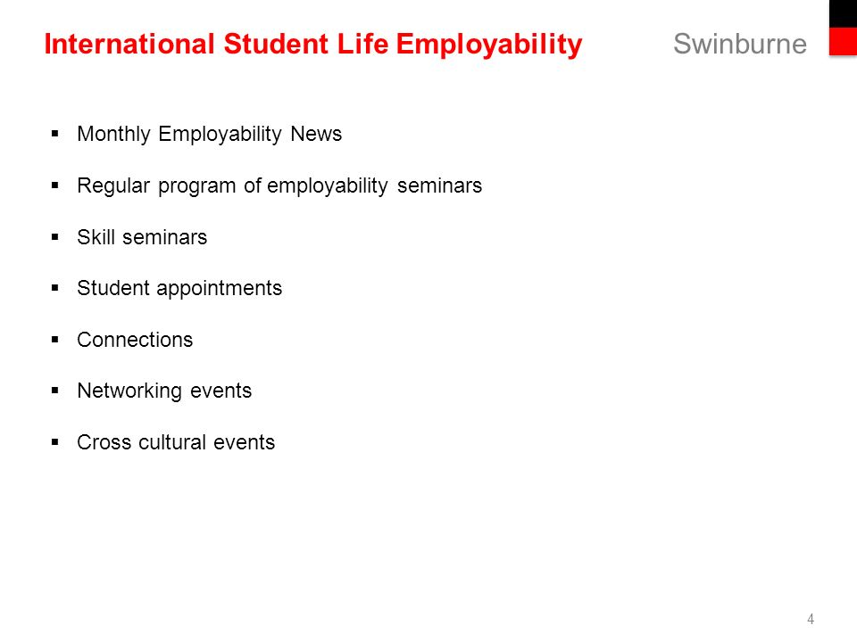 4 swinburne international student life employability 4 monthly employability news regular program of employability seminars skill seminars - International Student Recruiter