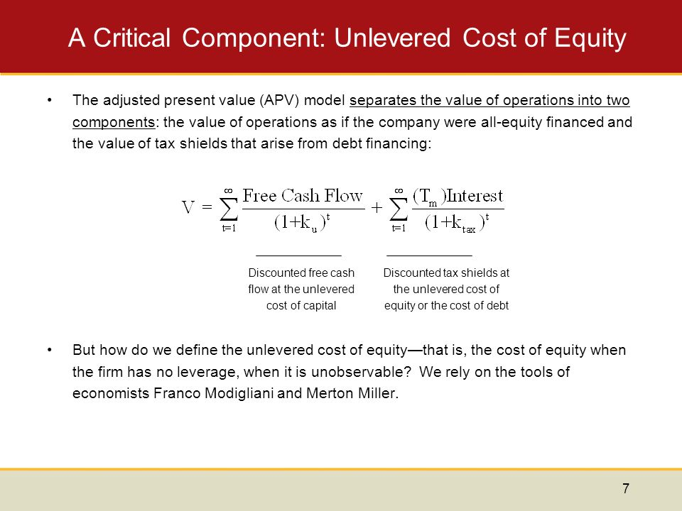 an introduction to the adjusted present value apv On the comparison between the apv and the npv computed via the wacc introduction in evaluating and we shall call it adjusted present value (apv.
