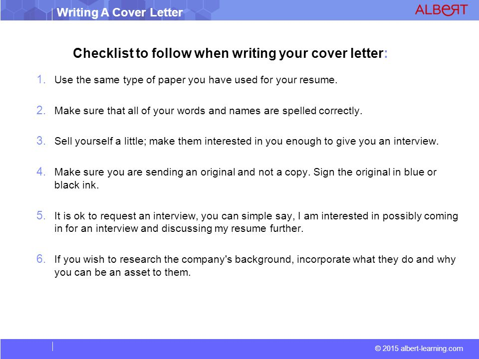 2015 albert learningcom writing a cover letter checklist to follow when writing