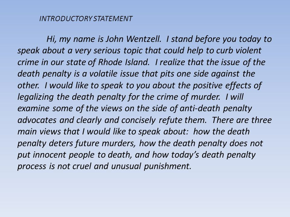 Death penalty introduction essay