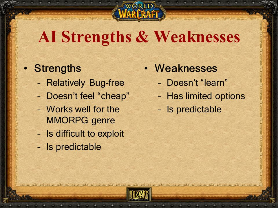 AI Strengths & Weaknesses Strengths –Relatively Bug-free –Doesn't feel cheap –Works well for the MMORPG genre –Is difficult to exploit –Is predictable Weaknesses –Doesn't learn –Has limited options –Is predictable