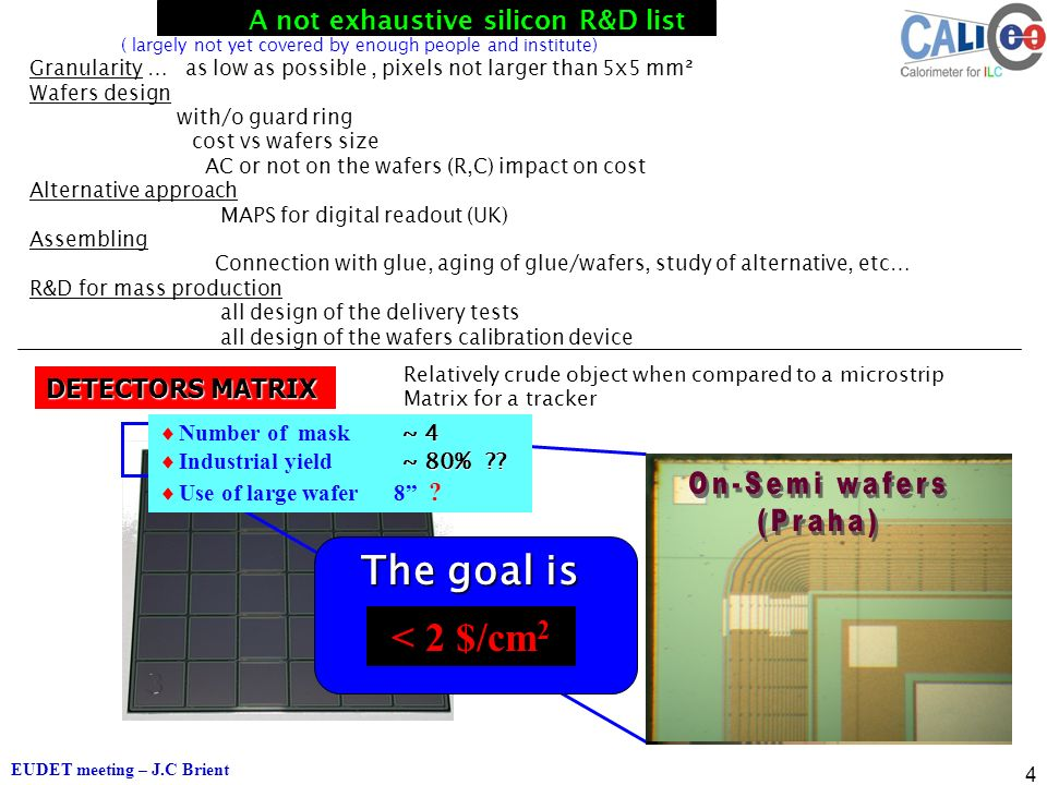 EUDET meeting – J.C Brient 4 The goal is ~ 4  Number of mask ~ 4 ~ 80% .