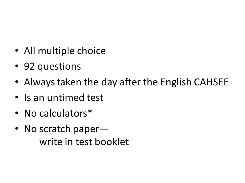 CAHSEE? Essay and other question?