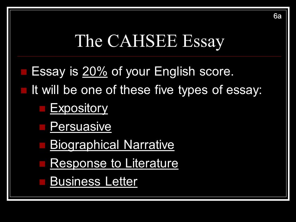 the cahsee essay About the cahsee test/ high school exit exam, what happens if you fail the first time does it stain your record my friend somehow forgot to take the essay part of the english portion.