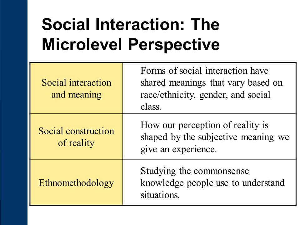 Social Interaction: The Microlevel Perspective Social interaction and meaning Forms of social interaction have shared meanings that vary based on race/ethnicity, gender, and social class.