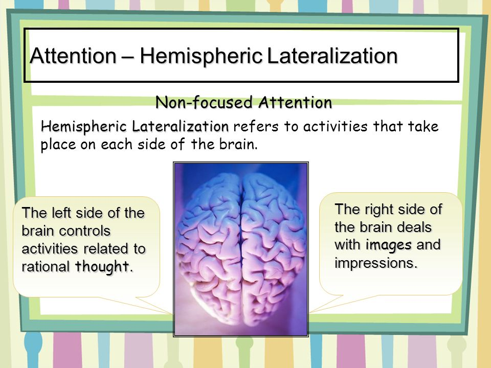 Attention – Hemispheric Lateralization Hemispheric Lateralization Hemispheric Lateralization refers to activities that take place on each side of the brain.