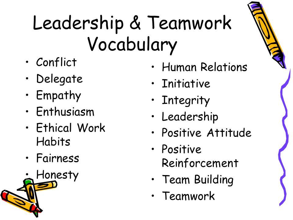 Leadership & Teamwork Vocabulary Conflict Delegate Empathy Enthusiasm Ethical Work Habits Fairness Honesty Human Relations Initiative Integrity Leadership Positive Attitude Positive Reinforcement Team Building Teamwork