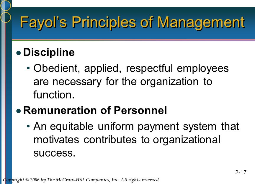 Copyright © 2006 by The McGraw-Hill Companies, Inc. All rights reserved. 2-17 Fayol's Principles of Management Discipline Obedient, applied, respectfu