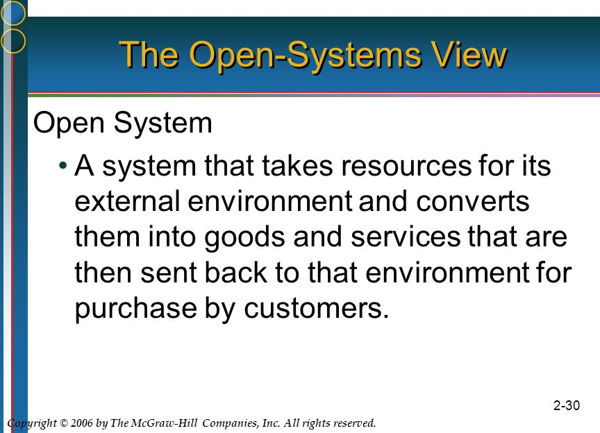 Copyright © 2006 by The McGraw-Hill Companies, Inc. All rights reserved. 2-30 The Open-Systems View Open System A system that takes resources for its
