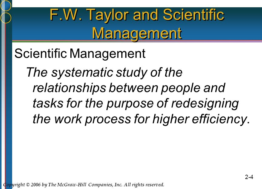 Copyright © 2006 by The McGraw-Hill Companies, Inc. All rights reserved. 2-4 F.W. Taylor and Scientific Management Scientific Management The systemati