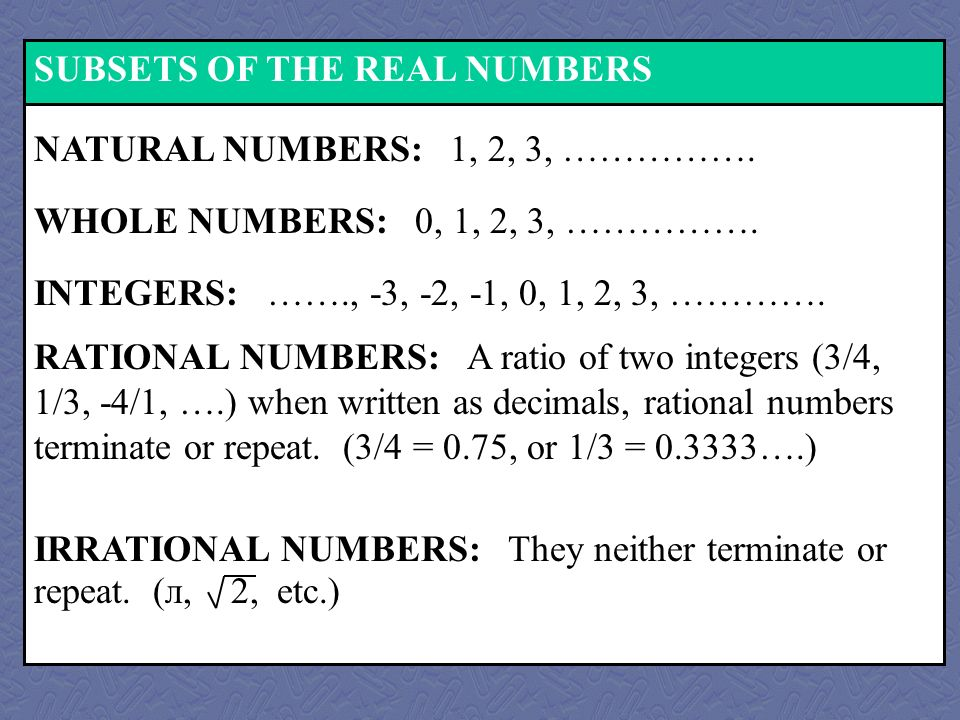 SUBSETS OF THE REAL NUMBERS WHOLE NUMBERS: 0, 1, 2, 3, …………….