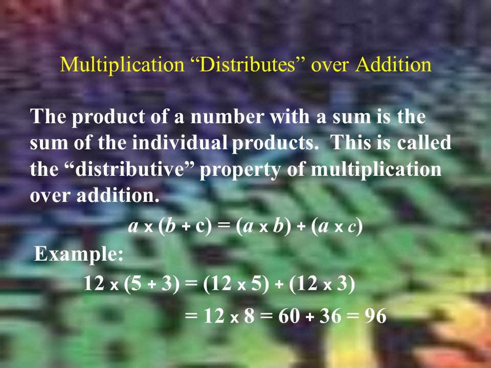 Multiplication Distributes over Addition The product of a number with a sum is the sum of the individual products.