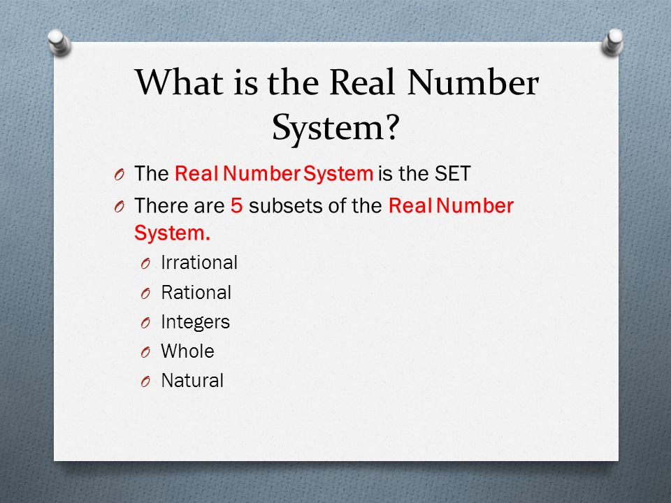What is the Real Number System.