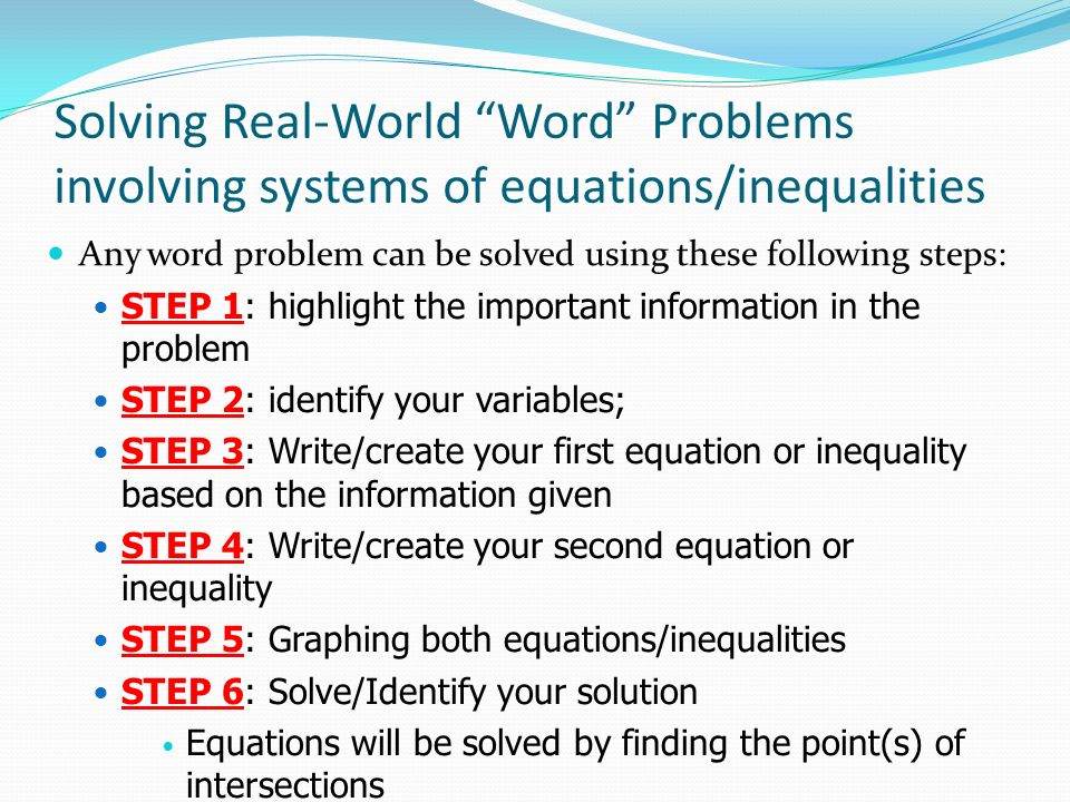 Solving Systems Of Linear Equations And Inequalities Word Problems – System of Inequalities Word Problems Worksheet