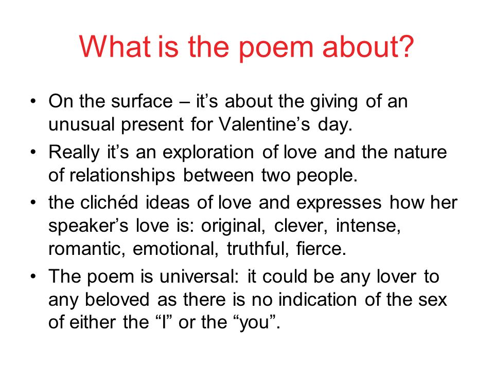 valentine by carol ann duffy complete the spider diagram thinking  5 what