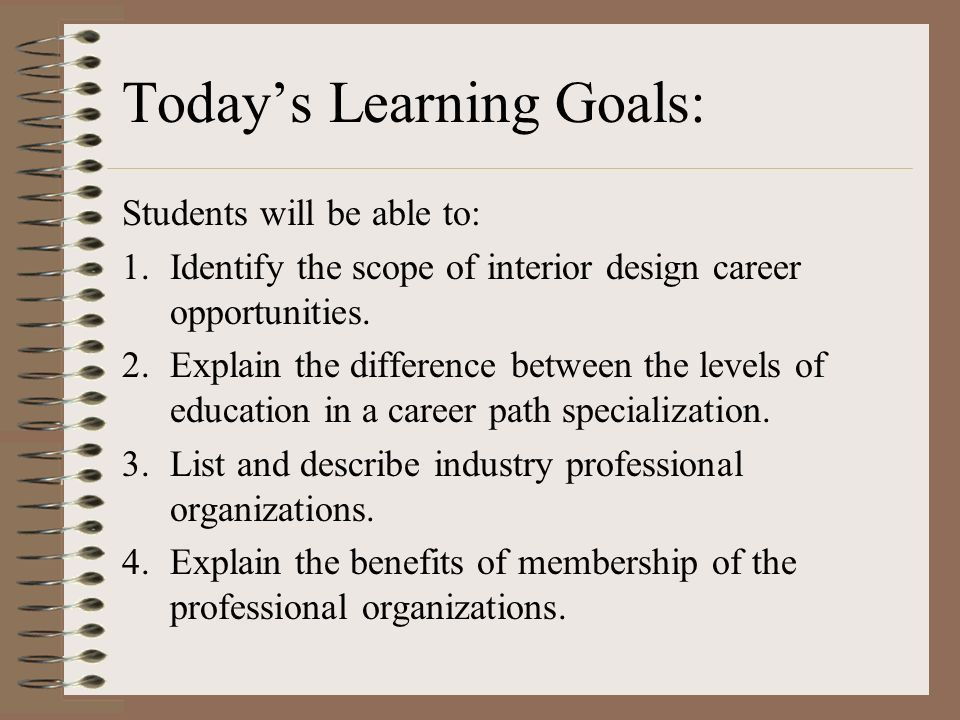 Interior Design Careers Todays Learning Goals Students will be