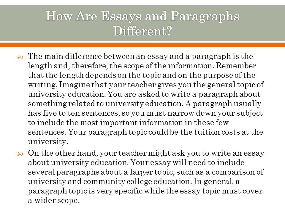 to understand how paragraphs and essays are related  to  the main difference between an essay and a paragraph is the length and therefore