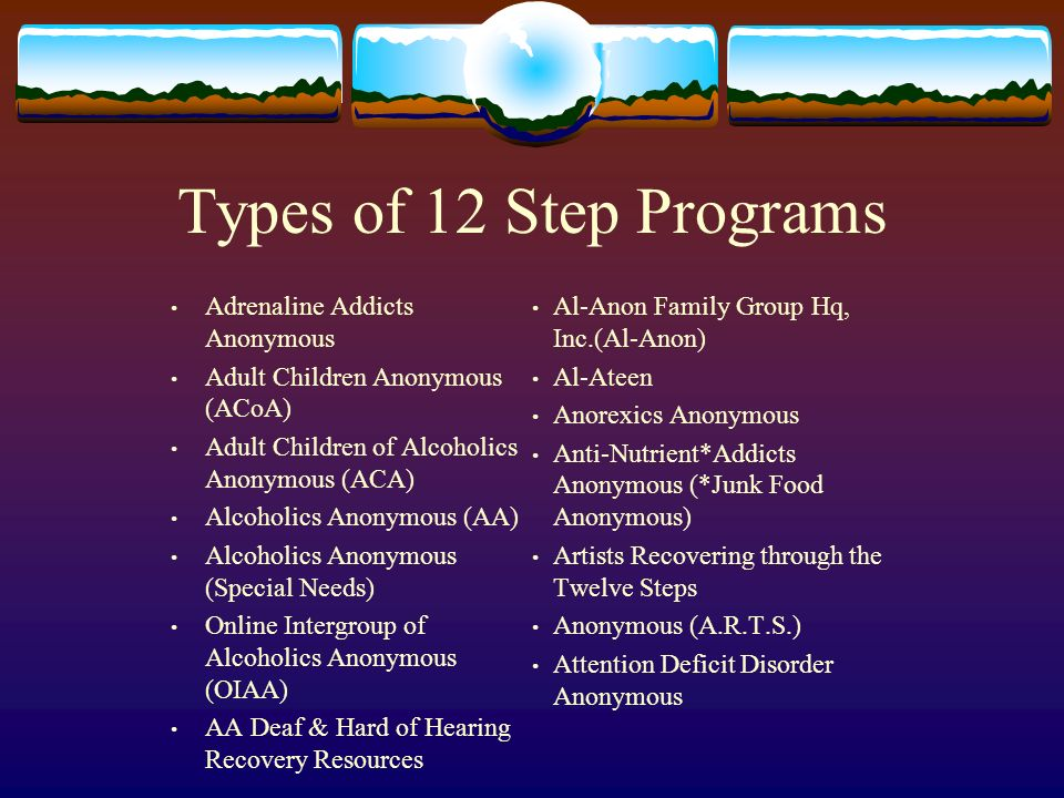 Sex addiction 12 step programs