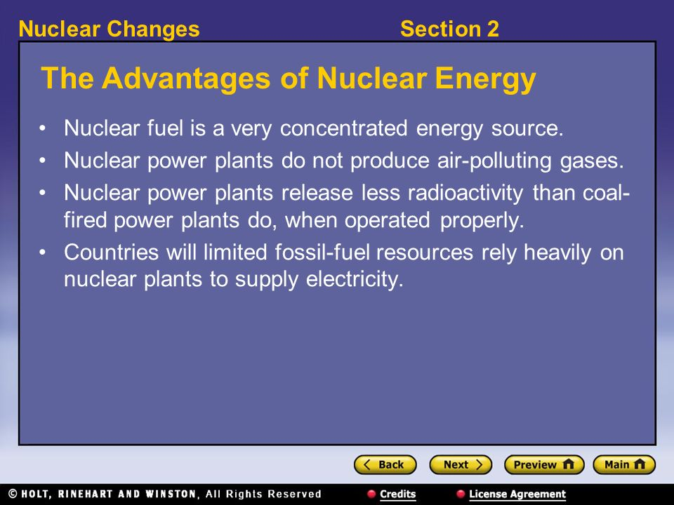 the advantages of using nuclear energy as a source of power