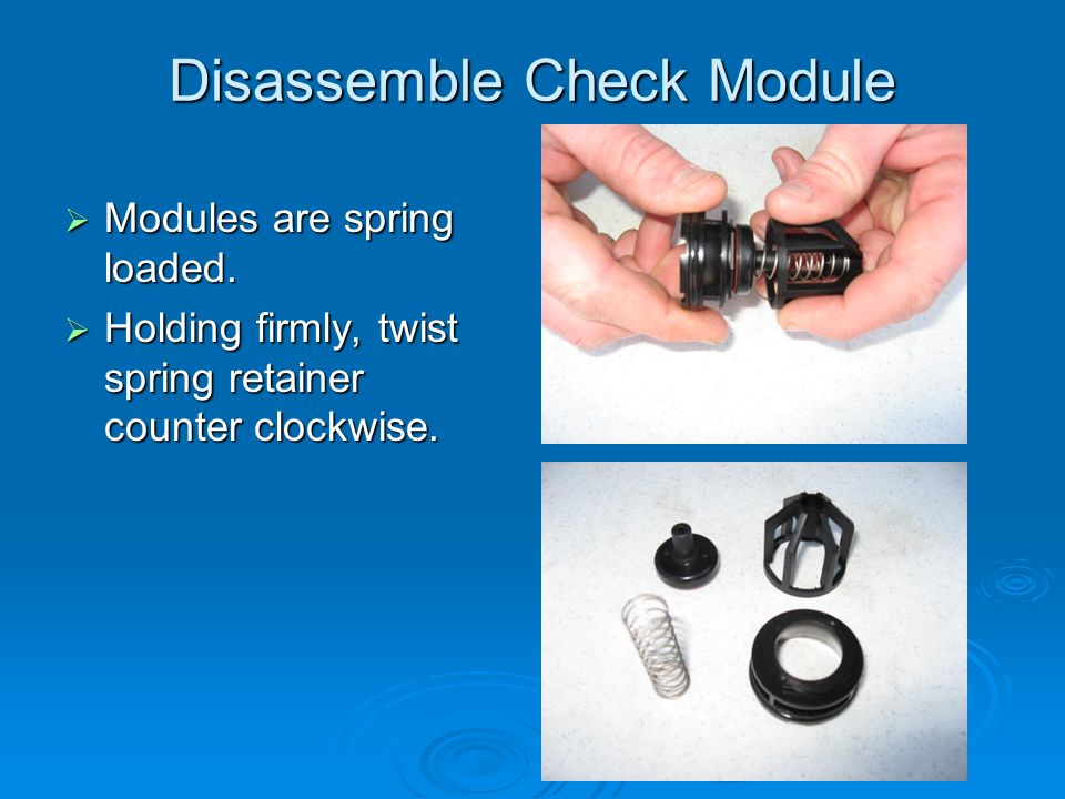 Disassemble Check Module  Modules are spring loaded.