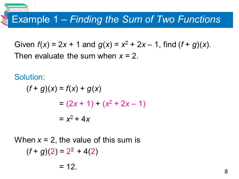 8 Example 1 – Finding the Sum of Two Functions Given f (x) = 2x + 1 and g (x) = x 2 + 2x – 1, find (f + g) (x).