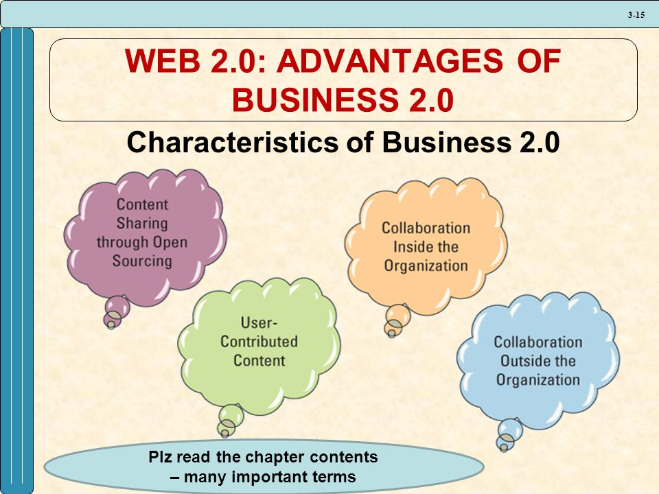3-15 WEB 2.0: ADVANTAGES OF BUSINESS 2.0 Characteristics of Business 2.0 Plz read the chapter contents – many important terms