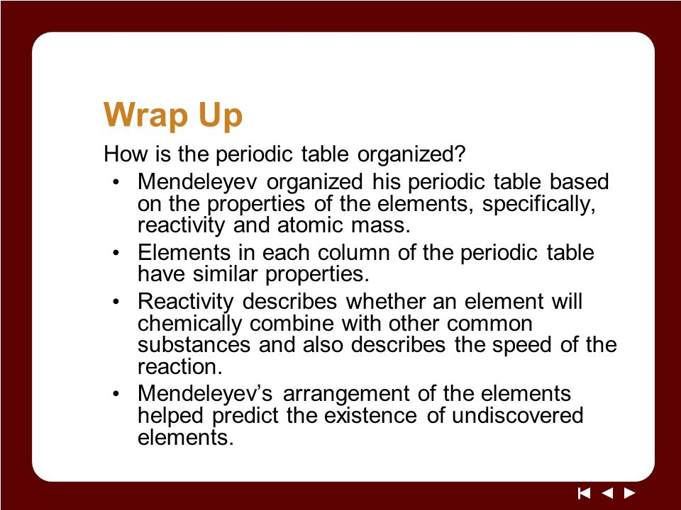 Periodic Table mendeleevs periodic table helped predict properties of : Living By Chemistry SECOND EDITION Unit 1: ALCHEMY Matter, Atomic ...