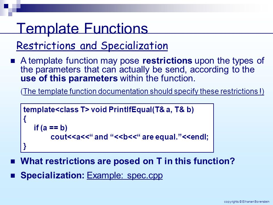 Object oriented programming elhanan borenstein lecture 10 9 template functions pronofoot35fo Gallery