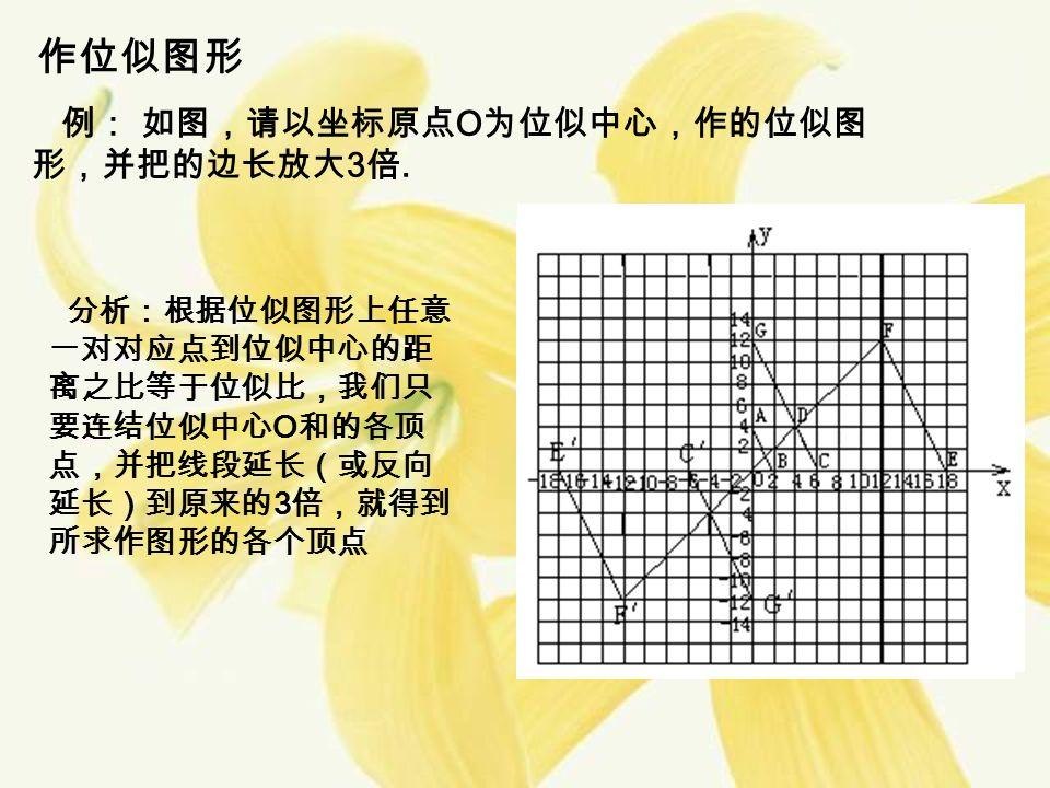 作位似图形 例: 如图,请以坐标原点 O 为位似中心,作的位似图 形,并把的边长放大 3 倍.