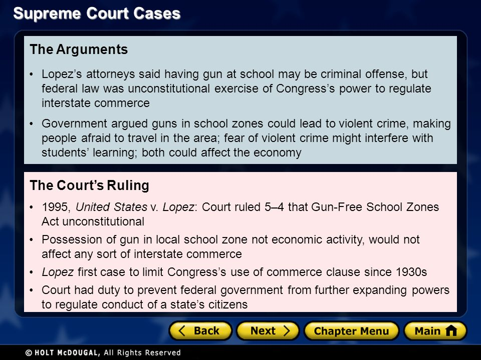Supreme Court Cases The Court's Ruling 1995, United States v.
