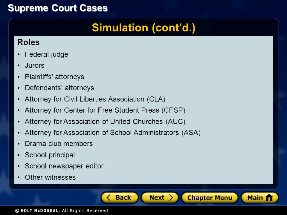 Supreme Court Cases Roles Federal judge Jurors Plaintiffs' attorneys Defendants' attorneys Attorney for Civil Liberties Association (CLA) Attorney for Center for Free Student Press (CFSP) Attorney for Association of United Churches (AUC) Attorney for Association of School Administrators (ASA) Drama club members School principal School newspaper editor Other witnesses Simulation (cont'd.)