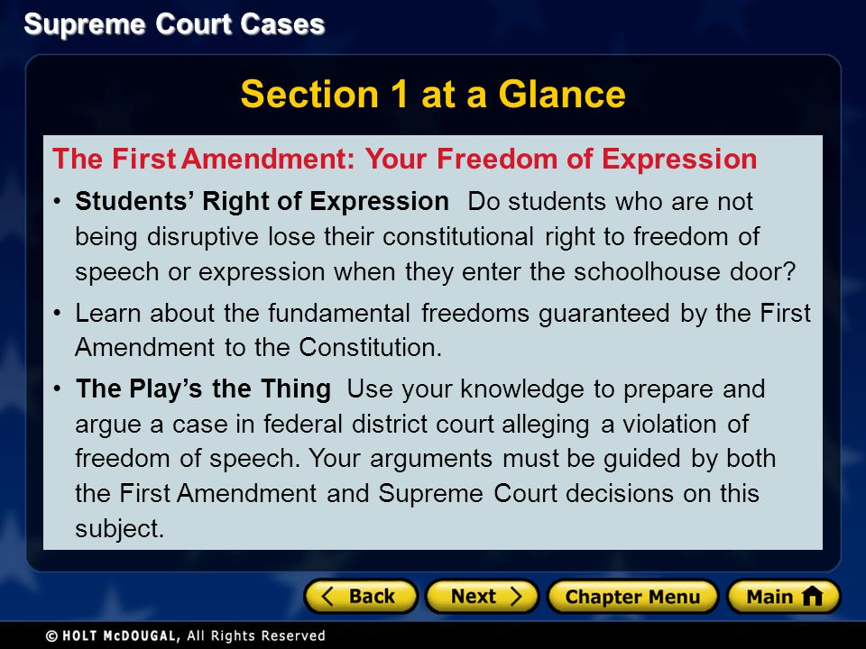 Supreme Court Cases Section 1 at a Glance The First Amendment: Your Freedom of Expression Students' Right of Expression Do students who are not being disruptive lose their constitutional right to freedom of speech or expression when they enter the schoolhouse door.