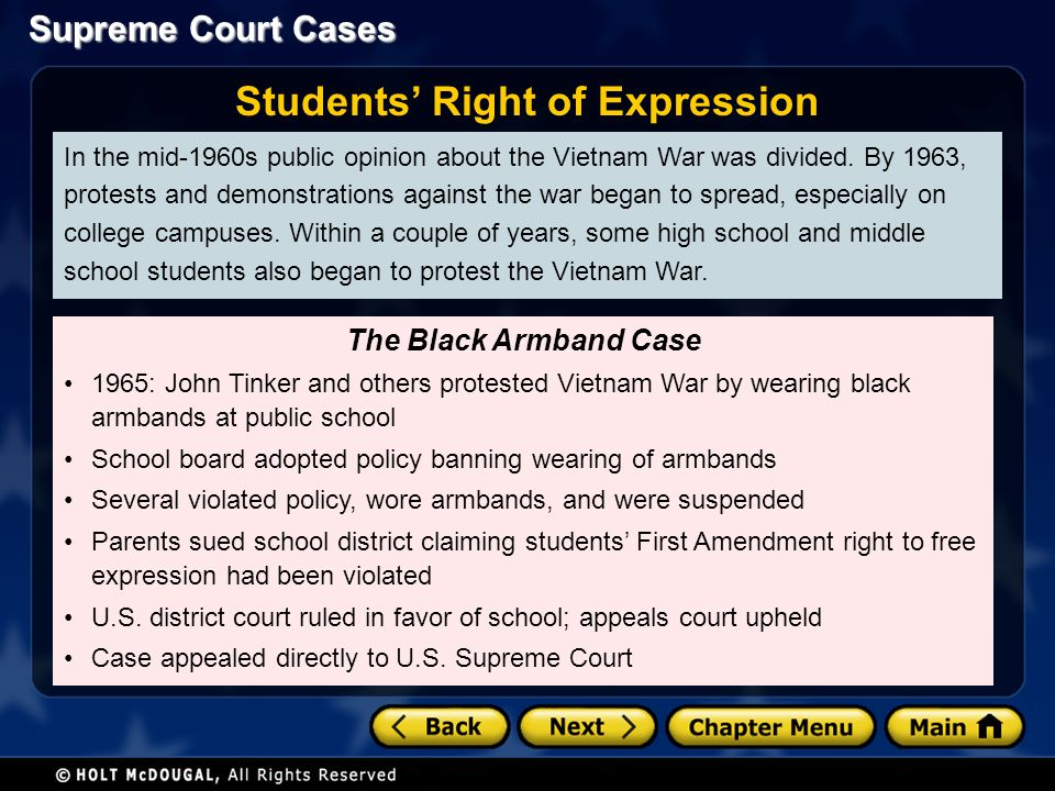 Supreme Court Cases In the mid-1960s public opinion about the Vietnam War was divided.