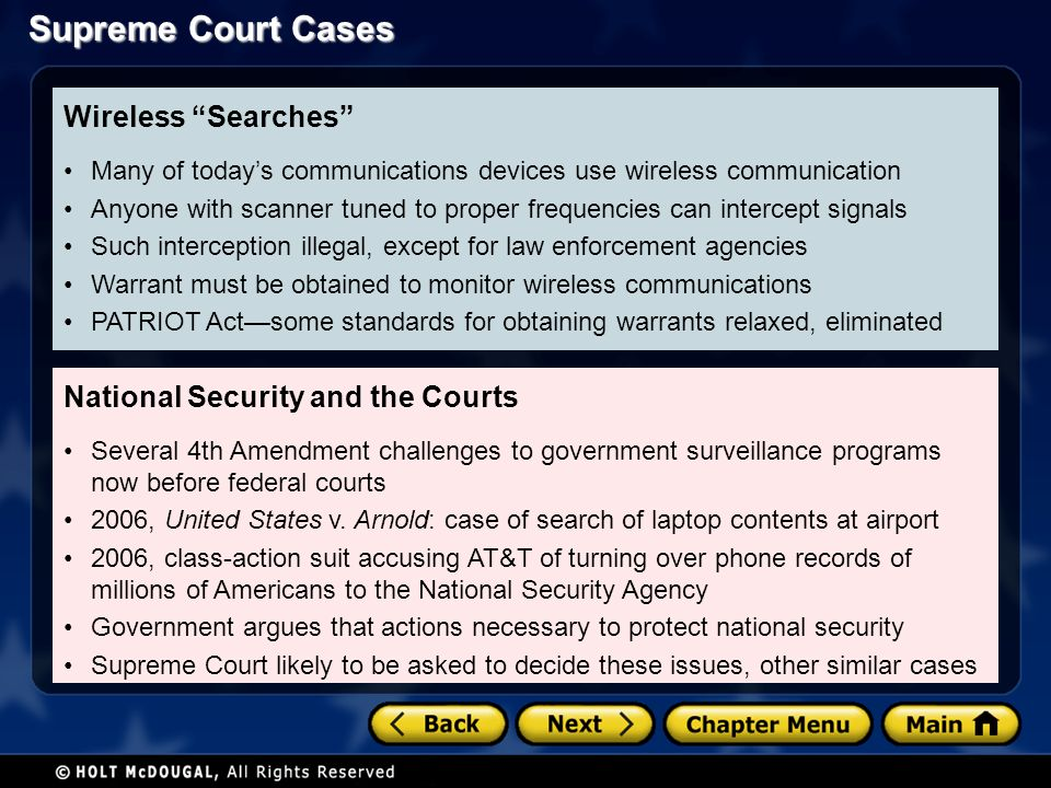National Security and the Courts Several 4th Amendment challenges to government surveillance programs now before federal courts 2006, United States v.