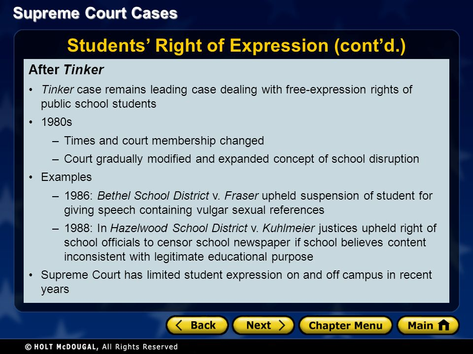 Supreme Court Cases After Tinker Tinker case remains leading case dealing with free-expression rights of public school students 1980s –Times and court membership changed –Court gradually modified and expanded concept of school disruption Examples –1986: Bethel School District v.