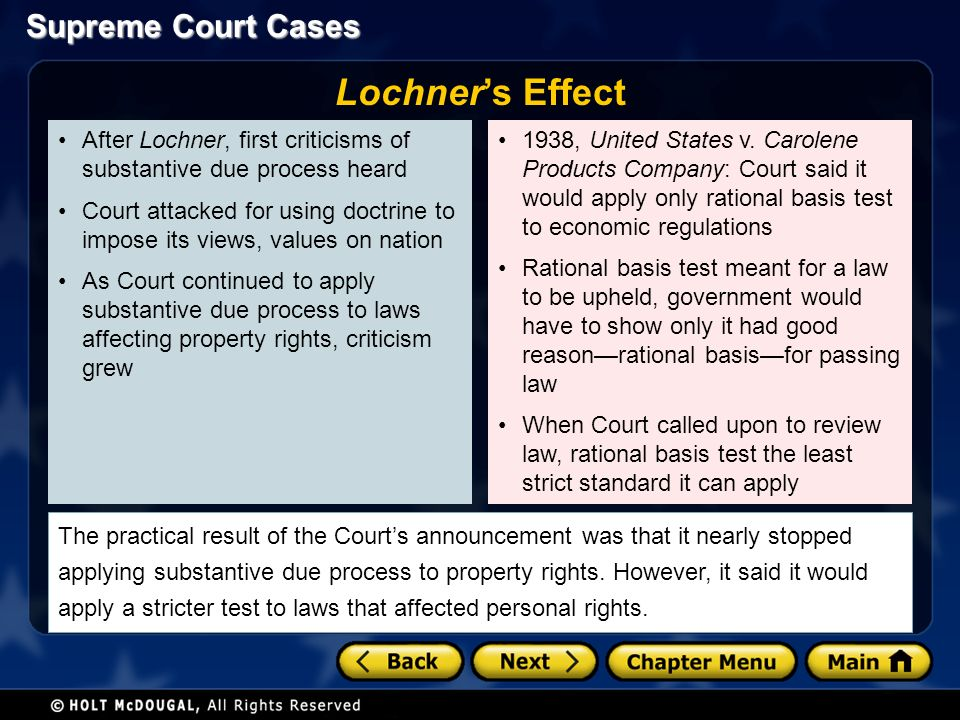 Supreme Court Cases After Lochner, first criticisms of substantive due process heard Court attacked for using doctrine to impose its views, values on nation As Court continued to apply substantive due process to laws affecting property rights, criticism grew 1938, United States v.