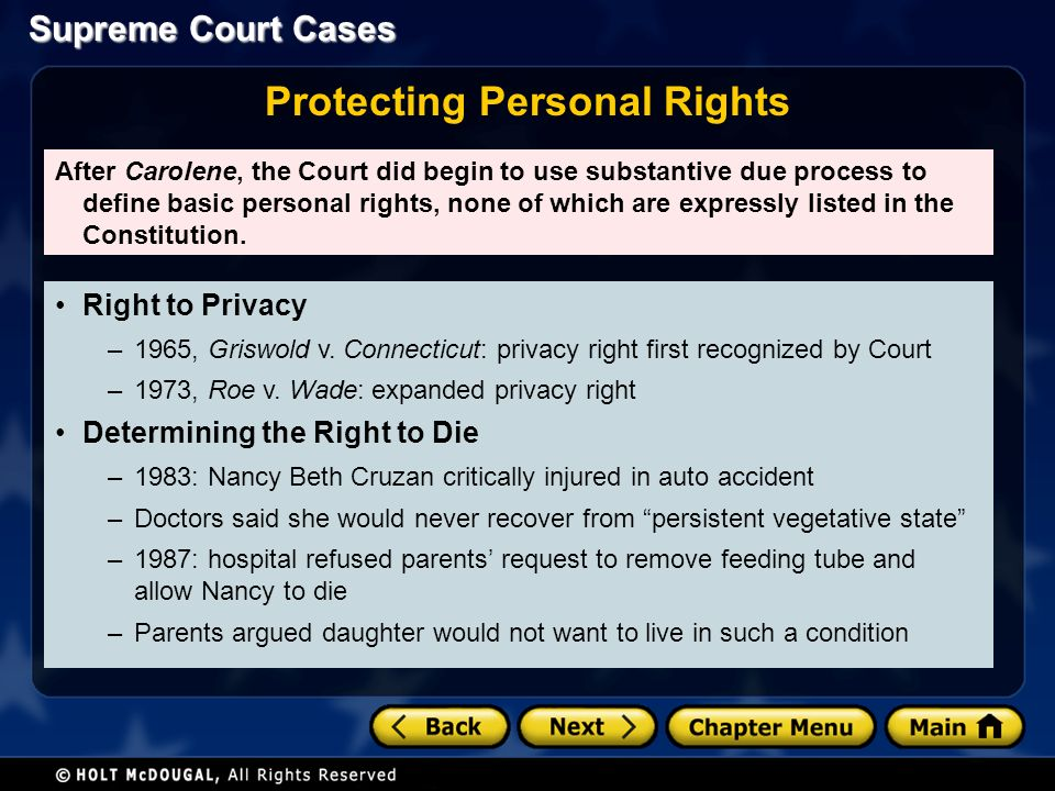 Right to Privacy –1965, Griswold v.