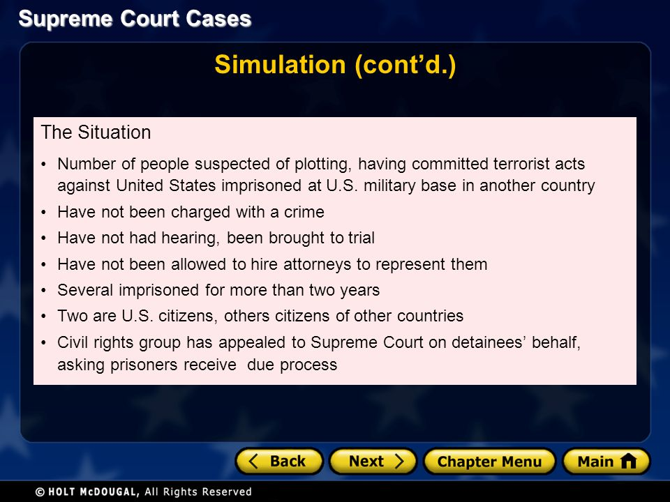Supreme Court Cases Simulation (cont'd.) The Situation Number of people suspected of plotting, having committed terrorist acts against United States imprisoned at U.S.
