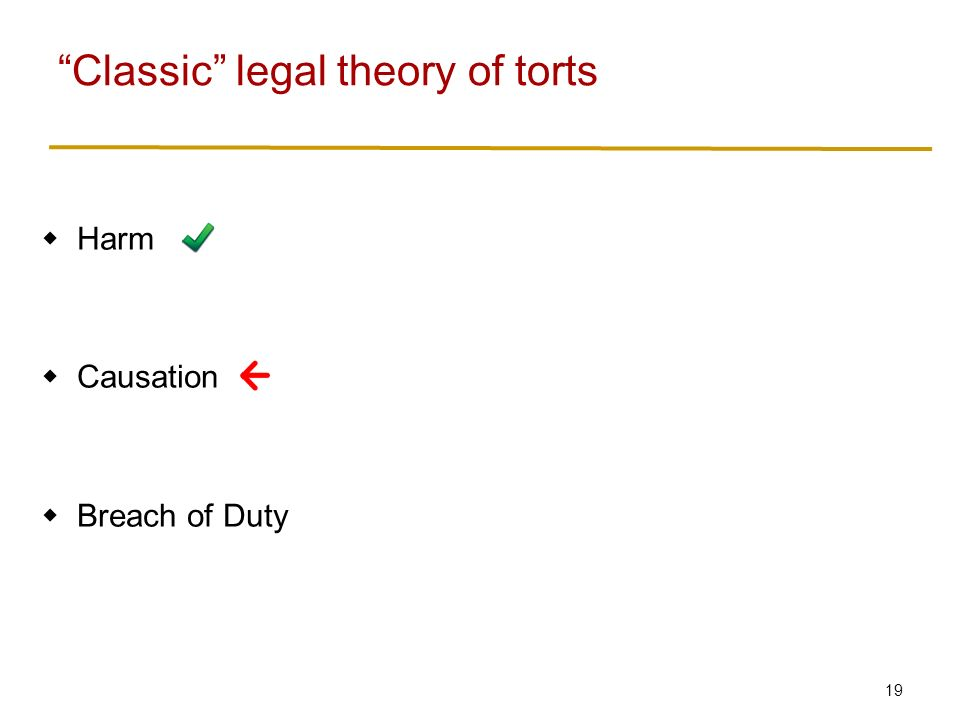 19  Harm  Causation  Breach of Duty Classic legal theory of torts