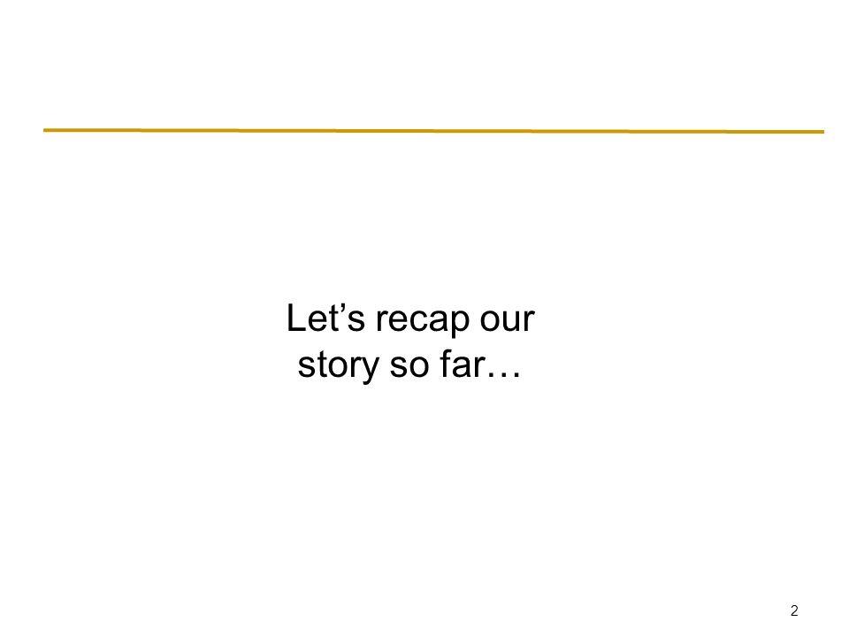 2 Let's recap our story so far…