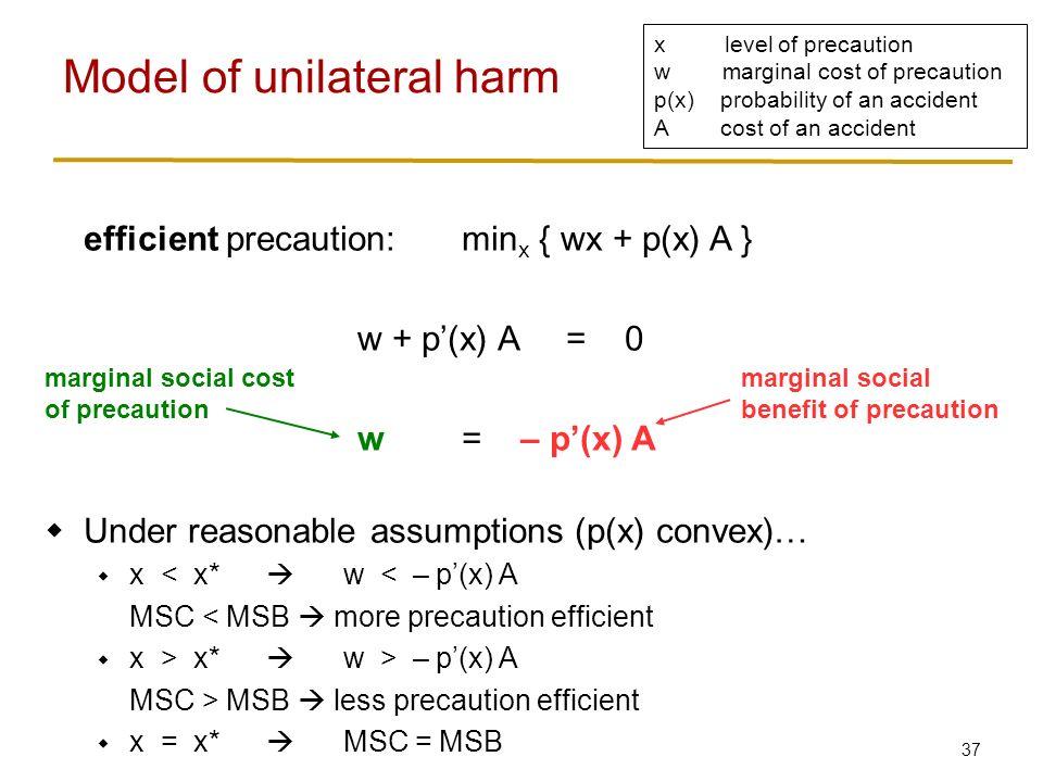 37 efficient precaution:min x { wx + p(x) A } w + p'(x) A = 0 w= – p'(x) A  Under reasonable assumptions (p(x) convex)…  x < x*  w < – p'(x) A MSC < MSB  more precaution efficient  x > x*  w > – p'(x) A MSC > MSB  less precaution efficient  x = x*  MSC = MSB Model of unilateral harm x level of precaution w marginal cost of precaution p(x) probability of an accident A cost of an accident marginal social cost of precaution marginal social benefit of precaution