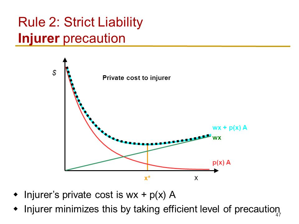 47 Rule 2: Strict Liability Injurer precaution x $ p(x) A wx wx + p(x) A x*  Injurer's private cost is wx + p(x) A  Injurer minimizes this by taking efficient level of precaution Private cost to injurer