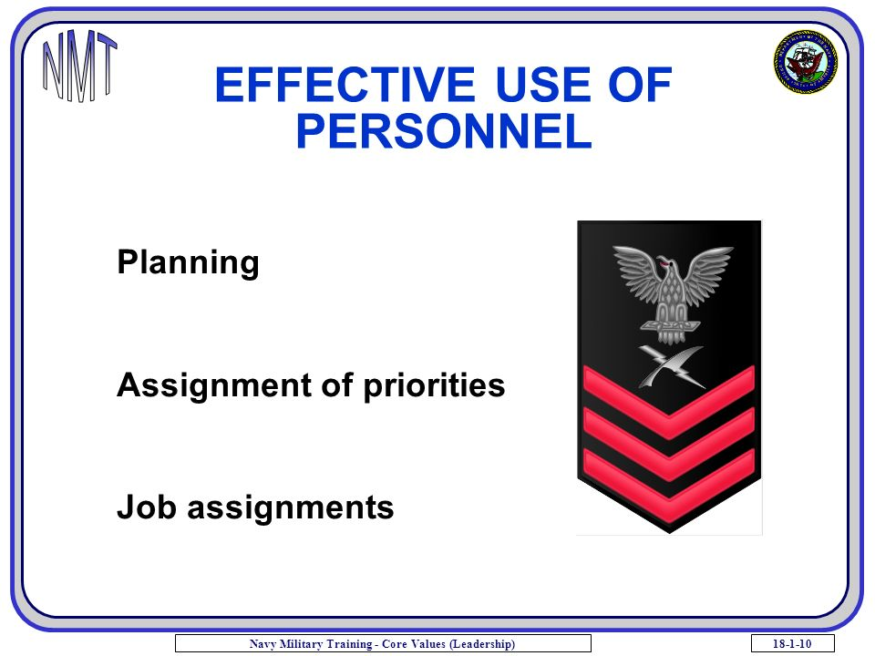 18-1-10Navy Military Training - Core Values (Leadership) EFFECTIVE USE OF PERSONNEL Planning Assignment of priorities Job assignments