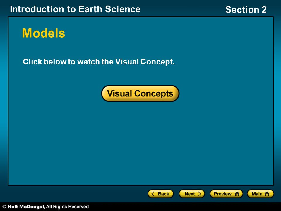 Introduction to Earth Science Section 2 Models Click below to watch the Visual Concept.