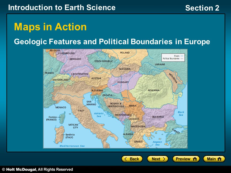 Introduction to Earth Science Section 2 Maps in Action Geologic Features and Political Boundaries in Europe