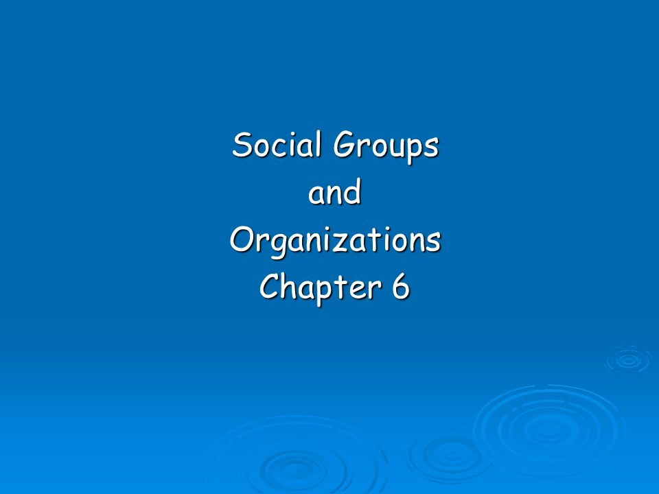 Social Groups andOrganizations Chapter 6