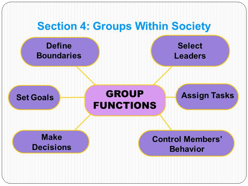 GROUP FUNCTIONS Section 4: Groups Within Society Define Boundaries Control Members' Behavior Set Goals Assign Tasks Select Leaders Make Decisions