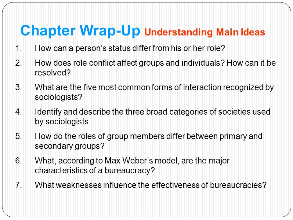 Chapter Wrap-Up Understanding Main Ideas 1.How can a person's status differ from his or her role.